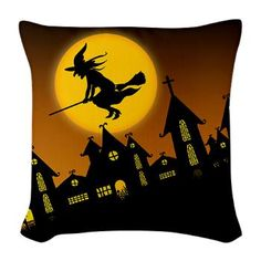 new at @CafePress : #Spooky #Halloween 2 Burlap Throw #Pillow Happy Halloween Spooky Town with a flying #witch!  $28.69