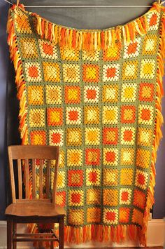 Vintage 70s Afghan Blanket Fall Colors Granny Square. via Etsy.