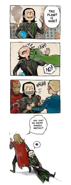 The Avengers. Brotherly love. Thor & Loki.