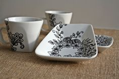 Hand Painted Coffee Cups set of 2 Black White by NevenaArtGlass, $46.80