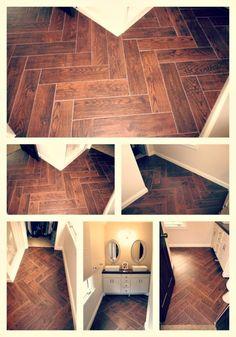 Herringbone Wood Look Tile Flooring Herringbone Tile Floors, Tile Flooring, Floor Design, House Design, Wall Design, Wood Look Tile, Bath Remodel, Decoration, Home Projects