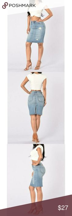 Fashion Nova over the top denim skirt Super cute, sold out denim skirt from Fashion Nova. Never worn. Perfect for spring/ summer days that are coming our way! ♡ Size small Spring closet cleaning♡ Fashion Nova Skirts