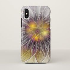 Luminous Colorful Flower Abstract Modern Fractal iPhone X Case - modern gifts cyo gift ideas personalize