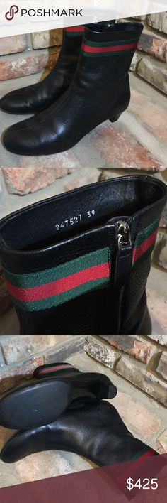 """Auth GUCCI Black Leather Ankle Signature Boots 39 🎉 5th Anniversary  Fall Fashion Host Pick!🎉 Black leather GUCCI (248527) Round toe zip up Mid calf boots. 2"""" block heel. All items in my closet are authentic. Ask any questions you may have. Made in Italy. Any scratches includes one very very small one to toe area of left toe. Although it's not very noticeable I took photo as close up as I could to show. The taps are good as well... took close up shots to show any minor wear. Absolutely…"""