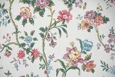 1940's Vintage Wallpaper  Colorful Floral by HannahsTreasures