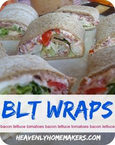 These BLT Wraps are incredibly yummy. I love how easy they are and how perfect they are to serve at a party or brunch. Source by marci. Real Food Recipes, Cooking Recipes, Yummy Food, Healthy Recipes, Healthy Mummy, What's Cooking, Healthy Food, Soften Cream Cheese, Tortilla
