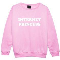 Internet Princess Sweater Top Sweatshirt Women's Kawaii Cute Wifi ($23) ❤ liked on Polyvore featuring tops, hoodies, sweatshirts, pink sweatshirts and pink top
