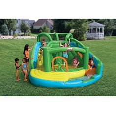 Little Tikes Kids will splash into summer with this exciting slide and bouncer! Add water and it becomes a fun pool! Keep it dry and it's a big bouncing play place! Inflatable Water Park, Inflatable Bounce House, Inflatable Bouncers, Water Bounce House, Castle Bounce House, Bounce Houses, Bouncer For Kids, Backyard Water Parks, Toddler Slide