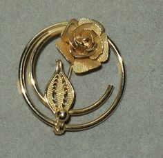 VINTAGE SARAH COV. COVENTRY BROOCH PIN SPUN GOLD TONE FLOWER VERMILE BEAUTIFUL | eBay