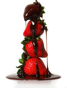 Strawberries in Chocolate Heaven.  A Balanced Diet for Joan, with the fondest strawberries, from Mike