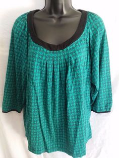 Apt 9 pullover blouse/shirt 3/4 sleeve green/black geometric plus size 2X #Apt9 #Pullover #Casual