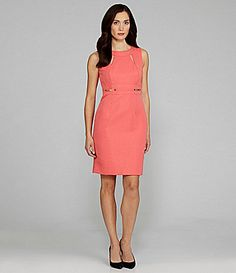 Tahari Sleeveless Jacquard Print Dress