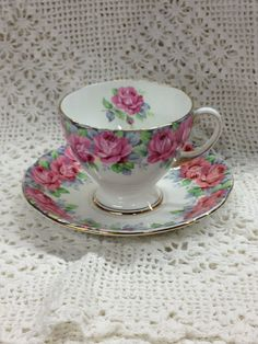 Royal Standard Fine Bone China - Rose of Sharon Teacup with Saucer - Made in England. via Etsy  20.00