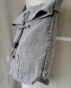 WabiSabi Vintage Linen Shoulder Bag 9 x 10 with di KathyVanKleeck