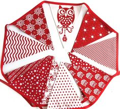 Christmas Red Owl Nordic Style Flag Bunting - Xmas hanging, Party Decoration - by merry-go-round on madeit