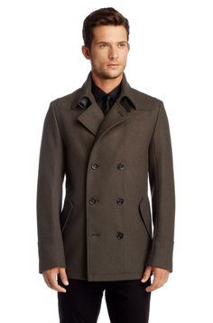 Pea coat in a new wool composition 'Bansk' by HUGO Peacoats, Hugo Boss, Composition, Fresh, Suits, Wool, Chic, My Style, How To Wear