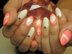 neon coral pink + white nails