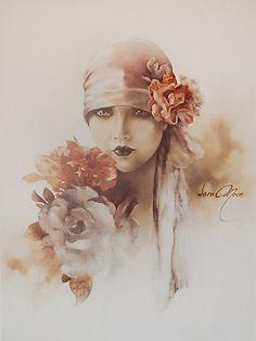 Illustration by Sara Moon (Iranian painter) 3d Art, Moon Art, Mixed Media Wall Art, Vintage Art, Illustration, Painting, Art, 3d Drawings, Vintage Illustration