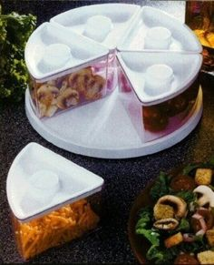 A lazy susan for refrigerator leftovers.
