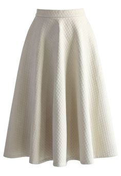 Quilted Crop Top and Midi Skirt Set in Cream - Skirt - Bottoms - Retro, Indie and Unique Fashion
