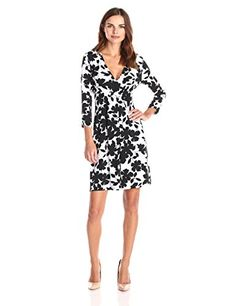 Lark & Ro Women's Dresses 3/4 Sleeve V-Neck Sheath, Black/White Floral, X-Small