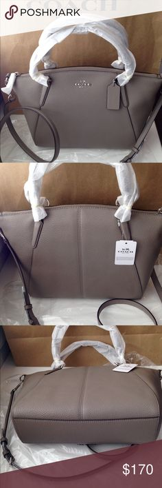 """NWT Coach Sm Pebbled Leather Kelsey Silver/Fog New with tags Coach small pebbled leather Kelsey/silver/fog handbag. Zip top closure, handles with 5 1/2"""" drop; silver hardware. Adjustable, detachable strap for crossbody wear. Inside lining with zippered pocket and two slip pockets. F36675. No Trades Coach Bags Crossbody Bags"""