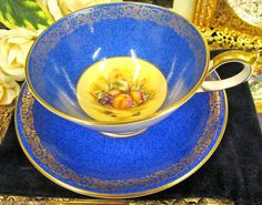 AYNSLEY TEA CUP AND SAUCER ATHENS BLUE AND ORCHARD FRUITS PATTERN TEACUP