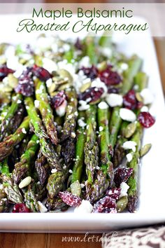Maple Balsamic Roasted Asparagus Recipe: Fresh asparagus is tossed with balsamic. Maple Balsamic Roasted Asparagus Recipe: Fresh asparagus is tossed with balsamic vinegar and maple syrup, roasted until crisp-tender, then topped with. Asparagus Dishes, Veggie Dishes, Food Dishes, Fresh Asparagus, Christmas Vegetable Side Dishes, Roast Asparagus, Side Dishes For Ham, Asparagus Appetizer, Salads