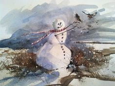 3 watercolor Snowman cards with natural brown by WatercolorTales
