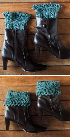 Knitting Pattern for Pikabu Boot Cuffs - These lace boot toppers can be worn up or folded over. Lace edging is knit first and then stitches picked up for the leg. Lace Boot Cuffs, Knitted Boot Cuffs, Knit Boots, Knitted Bags, Boot Toppers, Knitting Machine Patterns, Over Boots, Crochet Lace, Lana