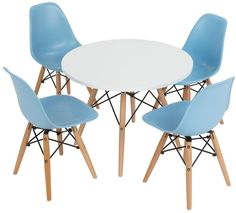 "23.5"" Children's Table Set w/ 4 Chairs, MDF Tabletop & Plastic Seats, Round - White"