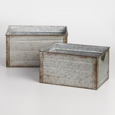 For convenient storage with a homey farmhouse feel, pick up one (or lots) of our galvanized metal bins, available in small and medium sizes. With cutout handles for easy carrying and light distressing for a vintage look, they add cool rustic style to your space.