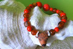 Brown and Orange boho bracelet buffalo head by VickiesVintageroom