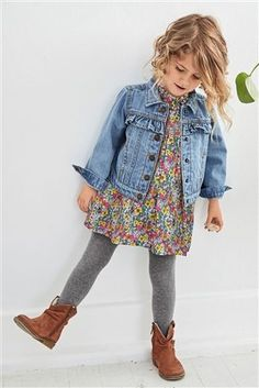 Our frill denim jacket and floral dress combo is PERFECT for any little lady's w. - Our frill denim jacket and floral dress combo is PERFECT for any little lady's wardrobe! Outfits Niños, Girls Fall Outfits, Little Girl Outfits, Little Girl Fashion, Baby Outfits, Girls Fall Dresses, Denim Outfits, Toddler Girl Style, Toddler Girl Outfits