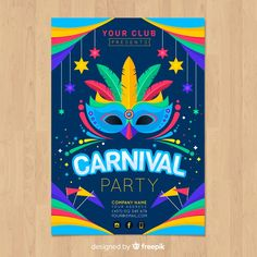 Elegant dark blue flyer template for carnival Vector Rio Carnival Costumes, Carnival Dancers, Carnival Background, Party Background, Greeting Card Template, Card Templates, Flyer Template, Rio Party, Theme Carnaval