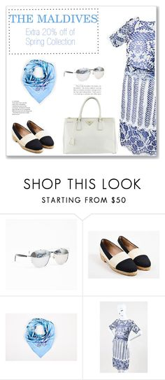 """The Maldives"" by snobswap ❤ liked on Polyvore featuring Christian Dior, Kay Unger New York and Prada"