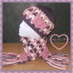 Valentine Child's crochet hat and scarf in dusty purple, pinks, and cream. Heart appliques.  Ready to Ship and FREE priority mail upgrade. from MollyMarieMade