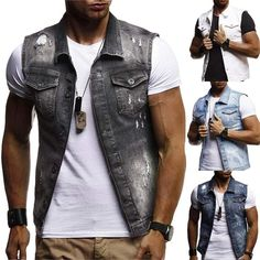 New Men's Denim Vest Jean Jacket Waistcoat Sleeveless Vintage Slim Casual Jacket Denim Vest Men, Denim Waistcoat, Ripped Denim, Men's Denim, Jean Vest Men, Washed Denim, Mens Summer Vests, Sleeveless Denim Jackets, Sleeveless Shirt