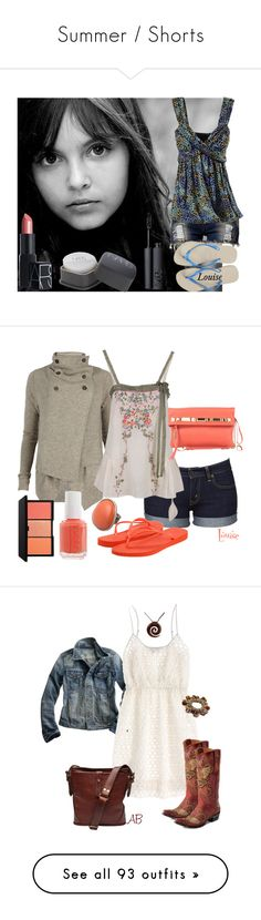 """Summer / Shorts"" by asiabird01 ❤ liked on Polyvore featuring Club L, NARS Cosmetics, Havaianas, jean shorts, makeup, top, flip flops, Levi's, AllSaints and Twin-Set"