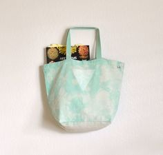 Mint Marbled Triangle Print Eco Friendly Canvas Giant Tote. $34.00, via Etsy.