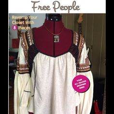 Rustic detailed bohemian top Brand new with tag. Great with jeans or shorts. Soft and easy to wear with open back. Free People Tops