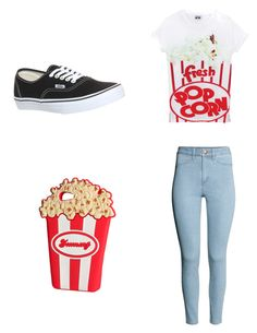 """popcorn"" by jessica-dilbeck ❤ liked on Polyvore featuring H&M and Vans"