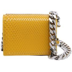 Calvin Klein 205w39nyc Women Micro Python Leather Bag ($1,045) ❤ liked on Polyvore featuring bags, handbags, shoulder bags, yellow, yellow leather purse, genuine leather handbags, leather handbags, yellow handbags and chain strap purse