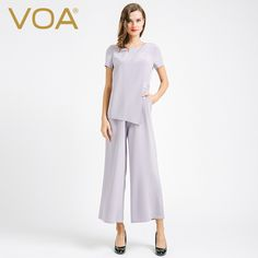 Find More Jumpsuits Information about VOA new high end silver color silk Jumpsuit autumn fashion short sleeved silk pants female K6673,High Quality pant suit plus size,China pants rise Suppliers, Cheap pant denim from VOA Flagship Shop on Aliexpress.com