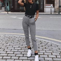 Outfits : Description UO Kaylee Split-Ankle Gingham Pant, white converse, black crop tee, tucked in tee, high waist skinny black belt Cute Fashion, Look Fashion, Fashion Women, Girl Fashion, Working Woman Fashion, Womens Fashion Outfits, Formal Fashion, Fashion Sale, Fashion Outlet