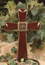 Resin Wall Cross Burgundy Gold By The Faith Collection