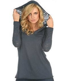 Look what I found on #zulily! TROO Charcoal Burnout Hooded V-Neck Tee by TROO #zulilyfinds