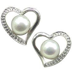Cursive Heart Shaped White Cultured Pearl Rhodium Plated Sterling Silver Stud Earrings