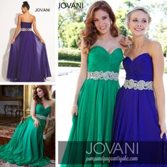 """""""Jovani strapless elegant long chiffon gown features a ruched bodice with beaded belt and empire waist"""""""