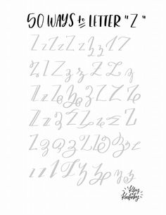 hand lettering 50 ways to type the letter Z. Hand Lettering Alphabet, Doodle Lettering, Creative Lettering, Lettering Styles, Letter Fonts, Cursive Alphabet, Abc Alphabet, How To Write Calligraphy, Calligraphy Handwriting
